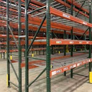 Tear Drop Rack Close up row end, beams and wire deck